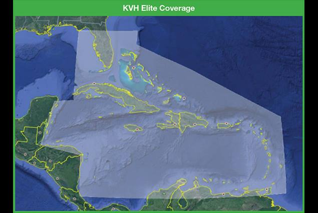 KVH Elite streaming service Caribbean coverage