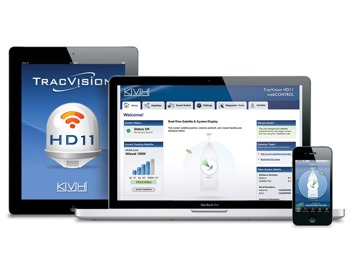 TracVision HD11 application on iPad, laptop, and cell phone